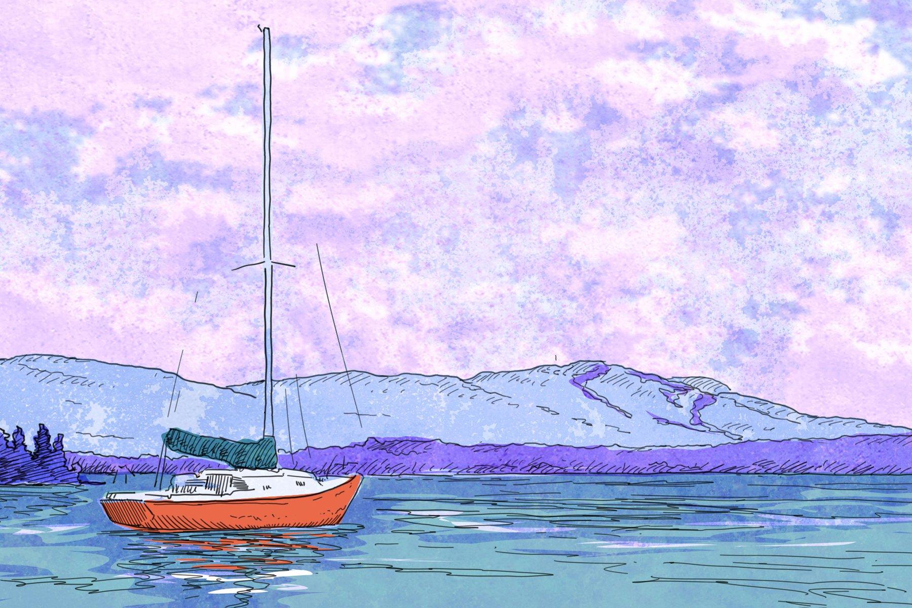 Illustration d'un lac avec un voilier