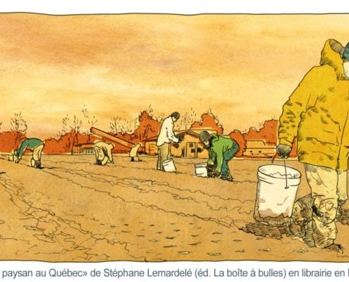 Illustration de paysans travaillant sur une plantation d'ail