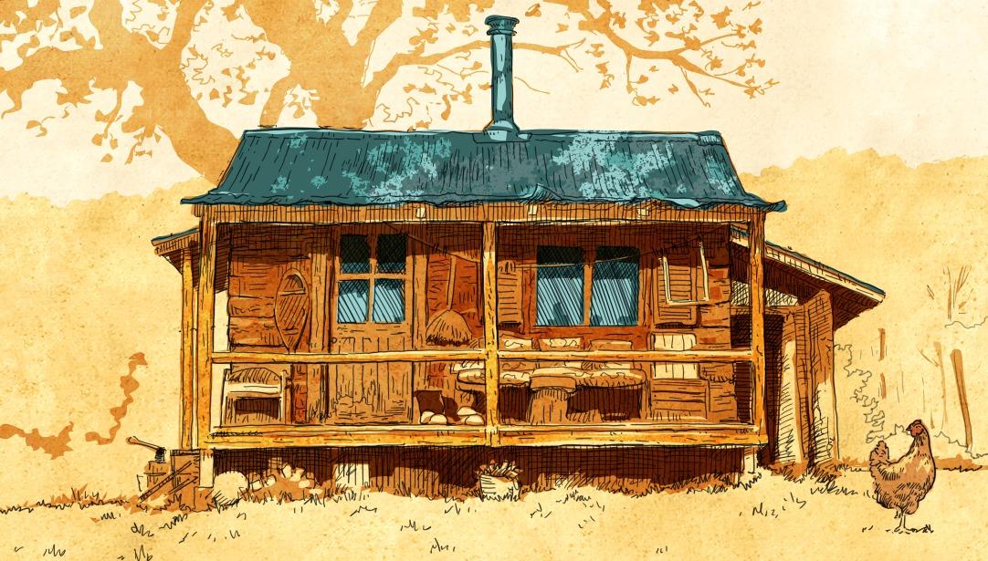 Illustration d'une maison en bois avec un toit bleu