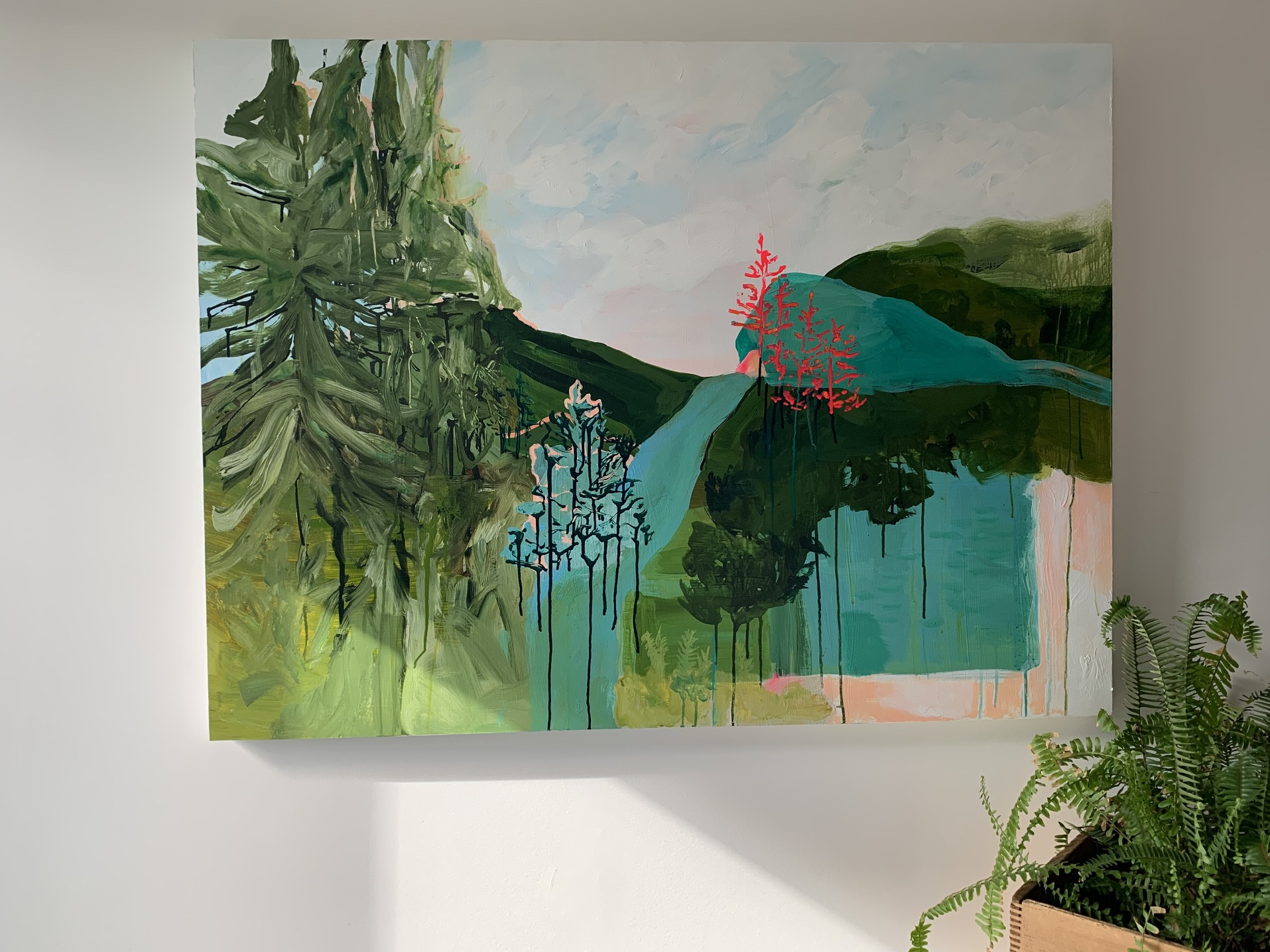 Peinture colorée représentant un paysage