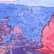 Illustration d'une route aux teintes chaudes