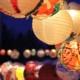 Lanternes magiques illuminées vues de près