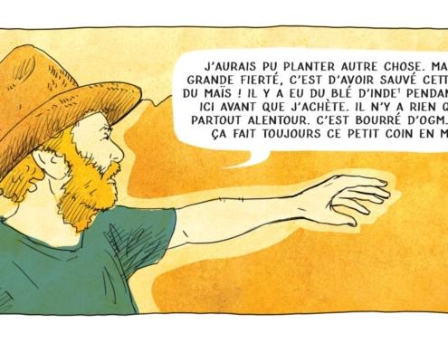 Illustration d'un paysan qui parle de sa terre et des OGM