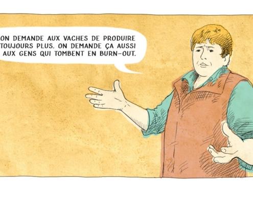 Illustration d'un paysan parlant de burn out