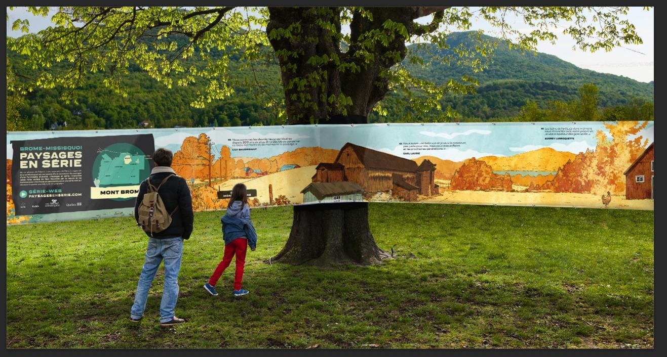 Deux personne observant la fresque des illustrations de Paysages en série installée à l'extérieur